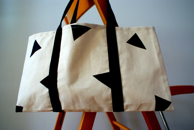 canvas triangle tote
