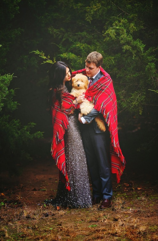 emily ann gemma christmas card, christmas card idea for couples, christmas card idea with puppy