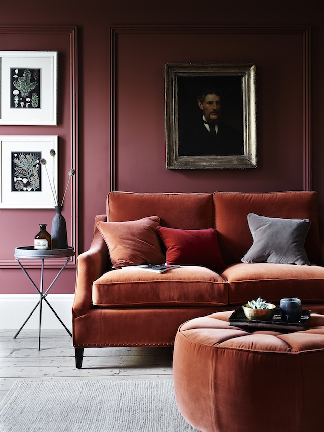 Velvet sofa #rust #fallcolors #homedecor #interiordesign