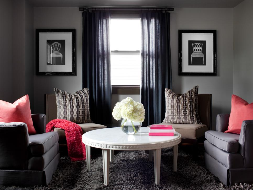 Gray room with pop of color #interiordesign #colorpop