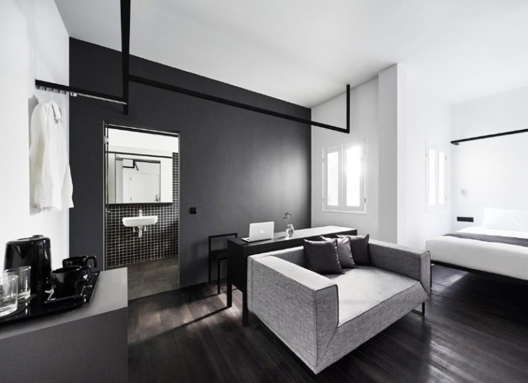 modern black and white interior design luxury hotel #interiordesign #modern #blackandwhite #photography #cleanlines #minimalism