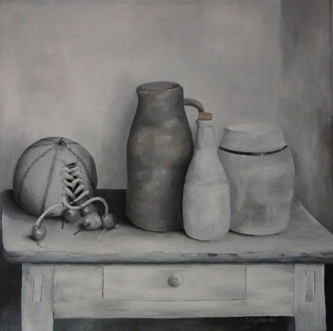 monochrome gray still life