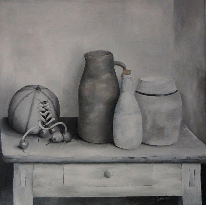 monochrome gray still life