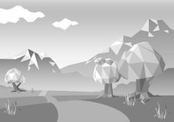 vector image of trees and mountains